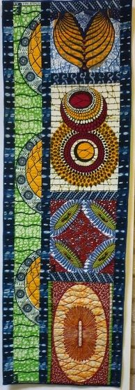 Running parallel with Ferret's exhibition at the Pavilion was 'A Bucketful of Fabric', work by Magie Relph and friends, at Llangollen Museu. African Quilts, African Textiles, African Fabric, African Theme, African Style, African Attire, African Dress, Quilted Wall Hangings, Scrappy Quilts