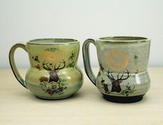 Handmade Pottery Mug Vintage Stag with by ClaraLanyiCeramics