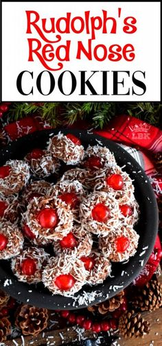 Rudolph's Red Nose Cookies - Santa Claus is coming to town and he's going to need Rudolph's Red Nose to guide his sleigh! Welcome to the 24 Cookies of Christmas countdown!  #rudolph #balls #cookies #candied #cherries #christmas #holiday #baking