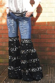 Hippie bell bottoms jeans upcycled cute bloomers with sequins. Boho jeans. size 8