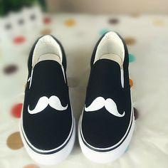 moustache graffiti painted canvas shoes *CUTE*