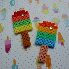 Perler Hama Fused Bead Rainbow Popsicle Iced Frozen Lolly Treat