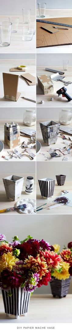 DIY Paper M​âché ​Vase - The House That Lars Built DIY paper mache vase If you enjoy arts and crafts you really will appreciate this cool website! Paper Mache Projects, Paper Mache Crafts, Diy Projects, Cardboard Paper, Cardboard Crafts, Diy Paper, Paper Vase, Paper Plates, Hobbies And Crafts