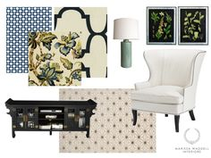 eDesign by @marissawaddell, pillows by WoodyLiana. Indigo blue fabrics: Windsor Smith Riad, Celerie Kemble Betwixt, Schumacher Kelmscott Manor #roostgiveaway