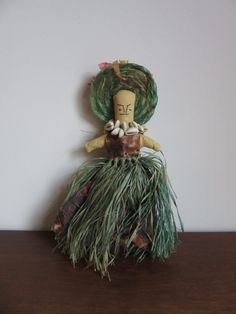 Vintage Primitive Ethnic Doll, Cloth, Paper, Fabric,Grass,Cowrie Shell Necklace,Sewn Face,Bonnet,Folk Art,Toy,Souvenir,Island,World by BarefootAndCivil on Etsy