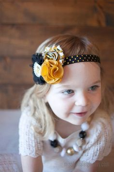 Georgia Tech Inspired {Headband} - Black and gold flowers embellished with a Georgia Tech bottle cap on Etsy, $10.00
