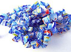 Millefiori Beads, Dark Blue Millefiori, Chip Beads, Blue Chips, 34 Inch Strand, Millefiori Chips, Glass Beads, UK Seller, Beading Supplies