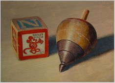 """""""Mickey Mouse Block and Wooden Top"""" - by Paul Wolber. ~Acrylic on gessoed masonite"""