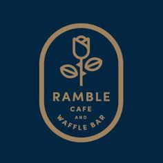 Ramble Cafe and Waffle Bar logo option by Jay Fletcher Logo Café, Type Logo, Bar Logo, Typography Logo, Inspiration Logo Design, Typography Inspiration, Design Ideas, Badges, Restaurant Logo