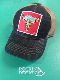Leopard Bull Skull patch cap / denim & tan by RockinAdesign      Accessories Hats & Caps Baseball & Trucker Caps Rockin A Design cap hat trucker mesh cowgirl western rodeo patch cap patch hat leopard bull skull