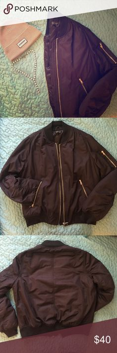 Topshop MA1 BOMBER jacket in black Topshop MA1 BOMBER in size US 8, black with gold zippers (gold on zippers is muted not bright). Topshop Jackets & Coats Puffers