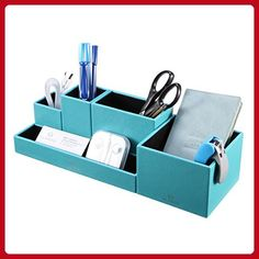 VPACK Leatherette 5-Compartment Multifunctional DIY Office Desk Organizer,Desktop Stationery Storage Box, Card/Pen/Pencil/Mobile Phone/Remote Control Holder, Assorted Color (Peacock Blue) - Refine your workspace (*Amazon Partner-Link)