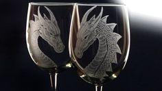 Dragon wine glass set set of 4 housewares by GlassGoddessNgraving
