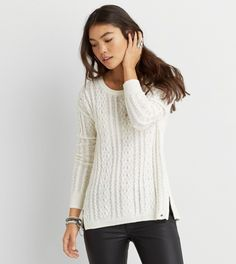 Cream AEO Cable Knit Zip Sweater