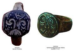 Inelul din bronz de la Seimeni şi inelul din bronz descoperit la Kamenicë, Albania, datat în secolele V-VI e.n. Albania