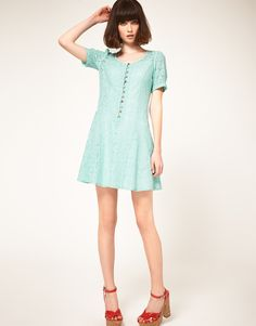 Nishe Lace Sweetheart Dress with Candy Buttons