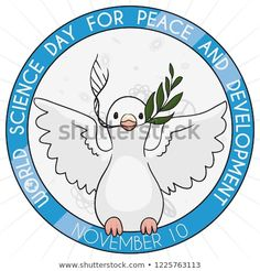 Cute dove holding a olive branch and ADN helix inside a button ready to commemorate World Science Day for Peace and Development in November World Science Day, Hold On, November, Royalty Free Stock Photos, Peace, Button, Illustration, Cute, Useful Tips