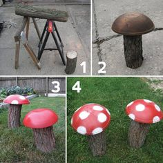 Garden Mushrooms great idea for a natural play space or fairy garden addition. Garden Crafts, Diy Garden Decor, Garden Projects, Art Projects, Yard Art, Natural Play Spaces, Garden Mushrooms, Garden Junk, Kid Garden