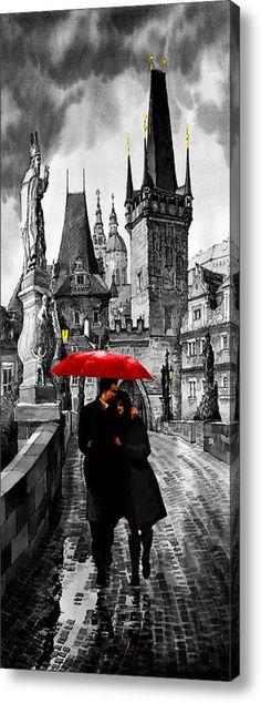 Red Umbrella Acrylic Print By Yuriy  Shevchuk