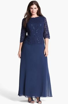 Alex Evenings Embellished Lace & Chiffon Gown (Plus Size) available at - looks good even on a larger size woman Evening Dresses Plus Size, Size 14 Dresses, Plus Size Outfits, Formal Dresses, Tunic Dresses, Dress Tops, Lace Dresses, Bride Dresses, Prom Dresses