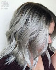 Dark Roots + Silver Grey Hair Style