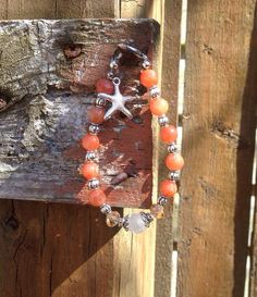 Orange Agate Starfish Beaded Bracelet  on Etsy, $19.99