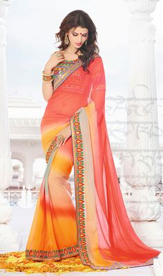 Off White, Yellow and Pale Red Chiffon Saree Price: Usa Dollar $94, British UK Pound £55, Euro70, Canada CA$102 , Indian Rs5076.