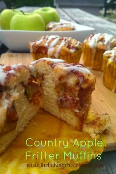 Country Apple Fritter Muffins. Fluffy, buttery, white cake muffins loaded with chunks of apples and layers of brown sugar and cinnamon swirled inside and on top.