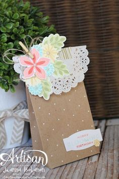 Flower Patch Bag - Jeanna Bohanon 2013 Stampin' Up! 3d Paper Crafts, Paper Gifts, Foam Crafts, Paper Bags, Pretty Packaging, Gift Packaging, Decorated Gift Bags, Gift Wraping, Kraft Bag