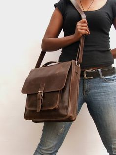 3e50149ad2 Messenger bag for Mens Women Unisex Brown Leather BACK TO SCHOOL leather  handbag laptop bag Leather