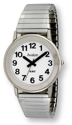 Avalon EZC Women's Silvertone Fashion Low Vision Watch with Flex Band # 3105S Avalon. $29.95. Beautiful High Luster Silver Tone Case and Comfortable Expansion Band. Lifetime Limited Warranty and Gift Box Included. Beautiful and Fashionable Women's Low Vision Timepiece. Bold Black Numbers on a Bright White background for EZC'ing Time. Accurate Analog Quartz Movement that Never Needs Winding