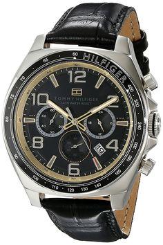 Tommy Hilfiger Men's 1790936 Sport Luxury Chronograph and Black Leather Strap Watch -- More info could be found at the image url.