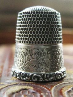 Antique Sterling Silver Victorian Thimble with by QuiteRightSlick