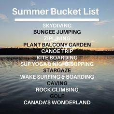Bungee Jumping, Canoe Trip, Summer Bucket Lists, Skydiving, Balcony Garden, Rock Climbing, Stargazing, Highlights, Surfing