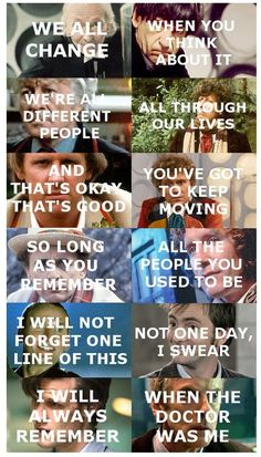 when the Doctor was me! I'll miss Matt Smith as the Doctor. I miss David Tennant as the Doctor. I miss Christopher Eccleston as the Doctor. I miss Paul McGlant as the Doctor. Dr Who, Virginia Woolf, Matt Smith, Tardis, Serie Doctor, Just Keep Walking, Film Anime, Ella Enchanted, Doctor Who Quotes