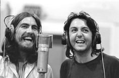 The Beatles Abbey Road recording session, 1969: Even though The Beatles never said it out loud, they all suspected this might be their last album. But according to producer George Martin, the sessions were not ugly and tense. Quite the opposite. Martin is quoted as saying they were very pleasant. George and Paul during a vocal harmony recording. All text on Abbey rd pics from https://blackjacketsymphony.wordpress.com/2013/05/09/abbey-road-in-the-studio-not-the-street/