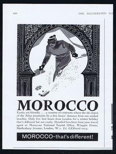 Vintage ski ad for Morocco 1963 on Ebay