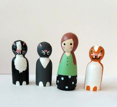 Crazy Cat lady and her 3 Cats wooden hand painted peg dolls.