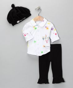 Take a look at this Black & White Big Dreamzzz Artist Layette Set by Baby Aspen on #zulily today!