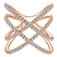 14k Pink Gold Kaslique Style Wide_band Ladies' Ring With Diamond