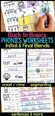 Do you need some ways for students to practice reading, writing, spelling, and working with blends? These phonics worksheets for initial and final blends are great for first-grade literacy centers, homework, reading small groups and more! Students read and write a variety of blends through fill-in-the-blank, cut and paste, and more! #readingcenter #blends #teachphonics Phonics Lessons, Teaching Phonics, Teaching Reading, Teaching Tips, Blends Worksheets, Phonics Worksheets, Phonics Activities, Phonics Blends, First Grade Lessons