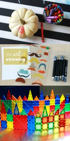 "Practice the art of strewing -- casually yet strategically leaving ""invitations"" for learning and creativity out for your kids to discover on their own)"