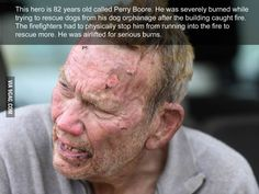 Perry Boore, my hero, burns himself while saving his orphaned dogs from a fire.