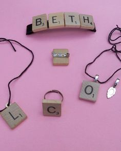 Fourth Grade Beads & Jewelry Activities: Scrabble Jewelry I Love Jewelry, Jewelry Design, Jewelry Making, Scrabble Crafts, Scrabble Tiles, Scrabble Letras, Jewelry Crafts, Handmade Jewelry, Vintage Jewelry