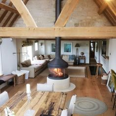 The cosiest log cabins with fireplace to cheer you up Home Fireplace, Fireplace Design, Fireplace Modern, Fireplace Stone, Fireplace Ideas, Barn Conversion Interiors, Casa Loft, Barn Renovation, Architecture Renovation