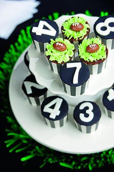 "even though these are ""rugby"" cupcakes, loved the gameday style of these to use for football"