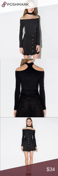Black Off the Shoulder Choker Top Long Sleeve SML NWT Black Off the Shoulder Choker Top Long Sleeve SML. Poly, spandex. Super cute with ripped denim and some velvet booties for Fall! Tops Blouses