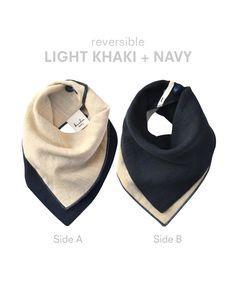 khaki + navy reversible kishu bib