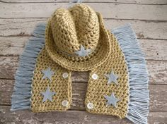 Crochet Cowbooy hat and chaps in tan and by TrebleStitchBoutique, $40.00