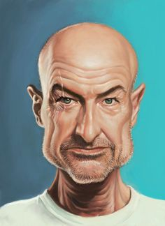 """Caricatures by Mark Hammermeister - John Locke from the ABC TV Show """"Lost"""" played by actor Terry O'Quinn"""